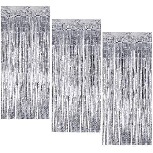 3 Stück Metallic Lametta Vorhang, 1 x 2 m Folie Fransen Vorhänge, Glitzer Tinsel Schimmer Vorhänge, Hintergrund Fringe Vorhänge für Party Geburtstag Hochzeit Tür Fenster Dekoration (Silber)