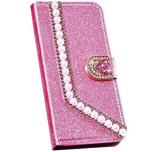 Ysimee Hülle kompatibel mit Samsung Galaxy S9 Handy Schutzhülle/Klapphülle PU Lederhülle mit Standfunktion und Kartenfach, Perle Design Tasche, Leder Handyhülle - (Rosa)