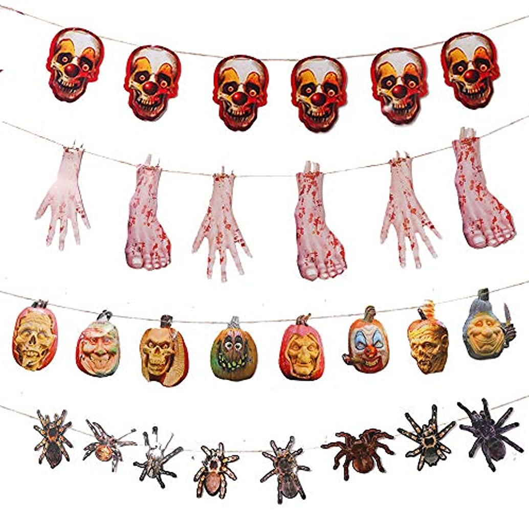 Zehhe 4 Packs Large Halloween Party Banner Decoration, Bloody Hand Foot Pumpkin Skull Spider Garlands for Haunted Houses Graveyard Scenes Halloween Parties