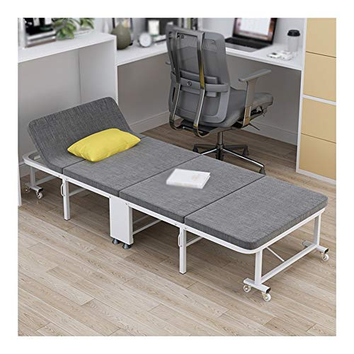 GYYARSX Folding Bed Single Person Foldable Portable Home Guest Bed Adjustable Backrest Metal Bed Frame High Density Sponge Bed,gray, 2 Sizes (Color : Gray, Size : 190X70X28CM)