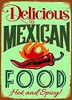 MEXICAN FOOD メタルポスター壁画ショップ看板ショップ看板表示板金属板ブリキ看板情報防水装飾レストラン日本食料品店カフェ旅行用品誕生日新年クリスマスパーティーギフト