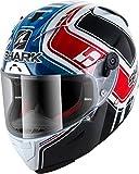SHARK NC Casco per Moto, Hombre, Blanco/Azul/Rojo, L
