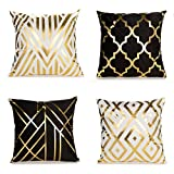 ENJU 4 Pack Soft Short Fuzzy Square Throw Pillow Covers, Geometry Gold Stamping Decorative Cushion Covers Pillowcase for Sofa Couch Bed Home Decoration, 18 x 18 inch Black and White