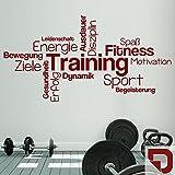 DESIGNSCAPE® Wandtattoo Training Begriffe | Wortwolke zur Motivation | Wandtattoo Sport 80 x 42 cm (Breite x Höhe) dunkelrot DW803439-S-F21