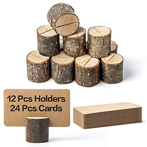 Jofefe 12Pcs Premium Wood Place Card Holders and 24Pcs Kraft Table Place Cards, Rustic Table Number Holders Stands, Table Sign Stand, Name Card Photo Picture Holders for Wedding, Party, Birthday.