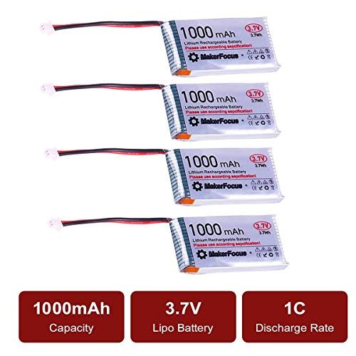 MakerHawk 3,7 V Lithium Akku 3,7 V 1000 mAh Lipo batterien mit Micro JST 1,25-Stecker für Arduino Nodemcu ESP32-Entwicklungsplatine (4 Pack) - 3