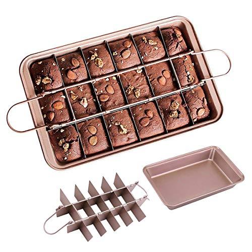 yidenguk Brownie Backform, kuchenform Brownie mit Trennwänden rechteckig verstellbar Antihaft backformen Set für Hochzeit, Geburtstag, Kuchen, Ausstechformen