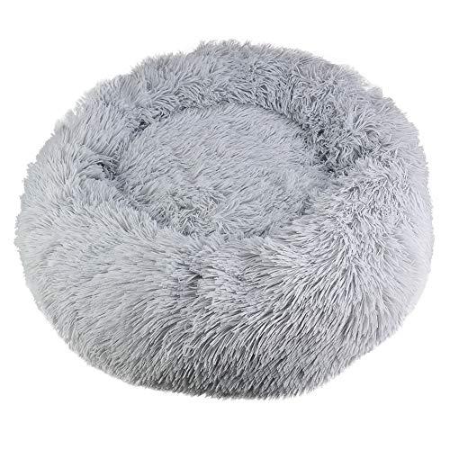 Paor Haustierbett für Hunde und Katzen, weiches Plüsch-Donut-Nestbett, rund, warm, kuschelig, rutschfeste Unterseite, maschinenwaschbar, Größe L, 60 cm, Grau