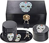 Stash House Supply Co Premium Stash Box Combo - Ultra Strong Metal Lock, 2.5' Herb Grinder, UV Glass Stash Jar, 2 Smell Proof Bags, Rolling Tray - Locking Skull Stash Box with Smell Proof Container