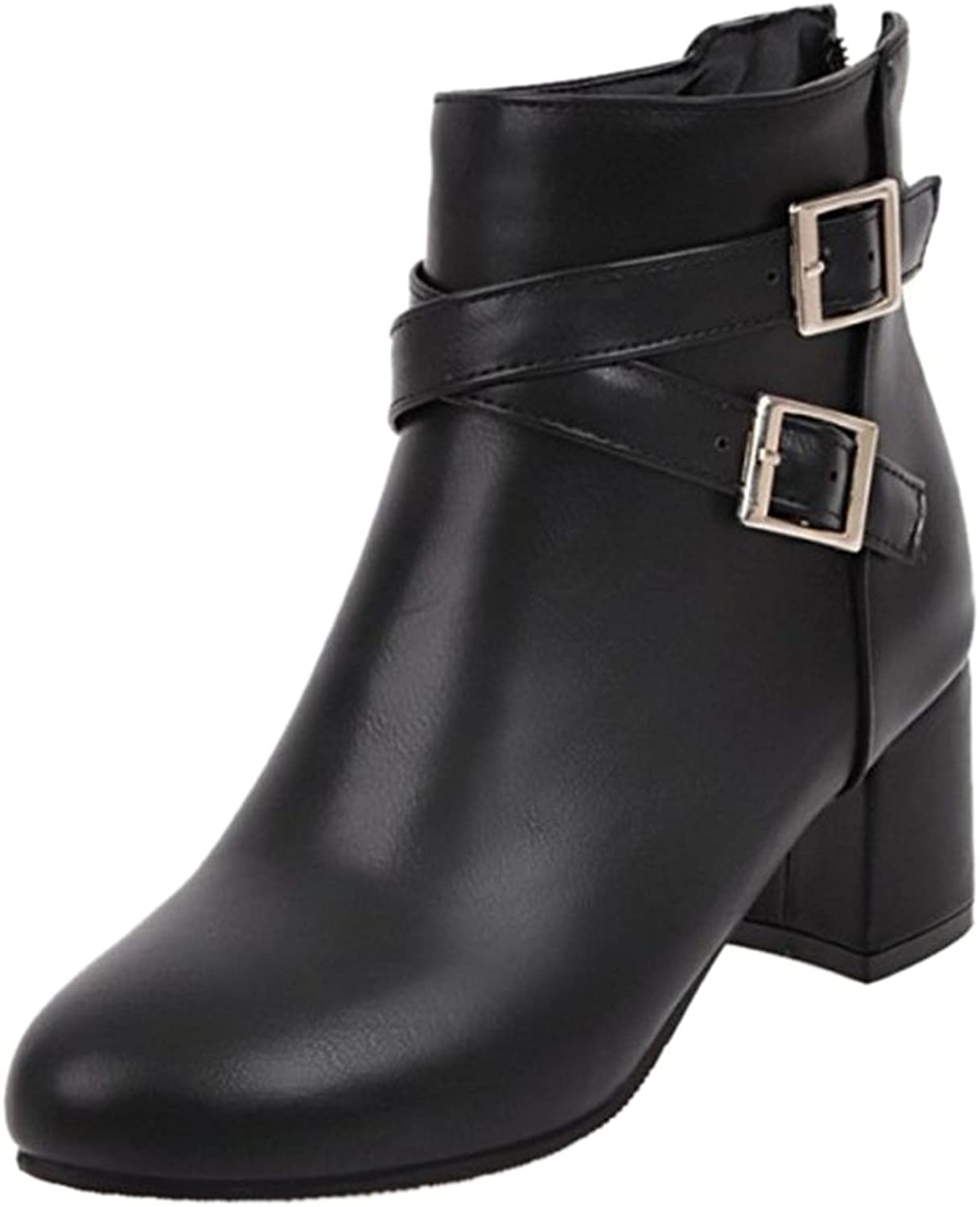 CUTEHEELS Women Casual Ankle Boots with Mid Chunky Heel and Large Size Avaialble