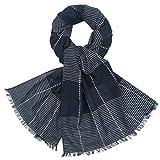 LINDENMANN Herren Schal Sommer / 100% Baumwolle, Herrenschal, blau-weiss