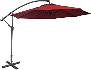 Abba Patio 10ft Offset Hanging Patio Umbrella with Cross Base, Red