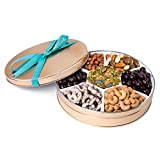 Chocolate and Nuts Gourmet Gift Basket   Christmas or Easter Holiday and All Occasions   Turquoise Bow Keepsake Tin Design   Dairy Free, Deluxe Snack Sampler