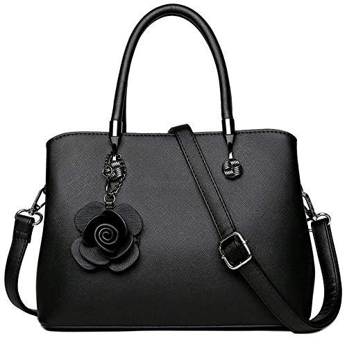 Damen-Handtasche im Vintage-Stil, echtes Leder, Schultertasche, Schwarz - Schwarz - Größe: Einheitsgröße