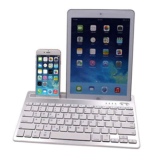 Meteor fire Tragbare Bluetooth-Tastatur, ultraschlanke kabellose Tastatur mit Multifunktionshalterung Volle Unterstützung für 3 Maior Systems-Tastaturen, für Smartphones und Tablet-Laptops,White