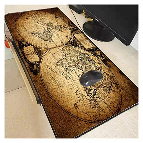 yywl Alfombrilla de Escritorio Mapa del Mundo Viejo Mapa Lock de Juego Grande Borde Alfombrilla de ratón Alfombrilla de Teclado Alfombrilla Estera Mat Mat Mat Gamer Mouse Pad para portátil Cuaderno