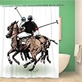 Awowee 72x72 Inches Shower Curtain Horse of Polo Players Sport Play Action Field Mallet Waterproof Polyester Fabric Bath Bathroom Curtain Set with Hooks