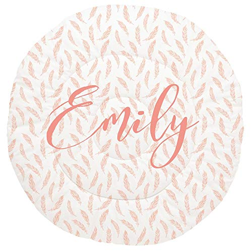 Best Bargain Carousel Designs Personalized Custom Peach Hand Drawn Feathers Baby Play Mat Emily Idea...