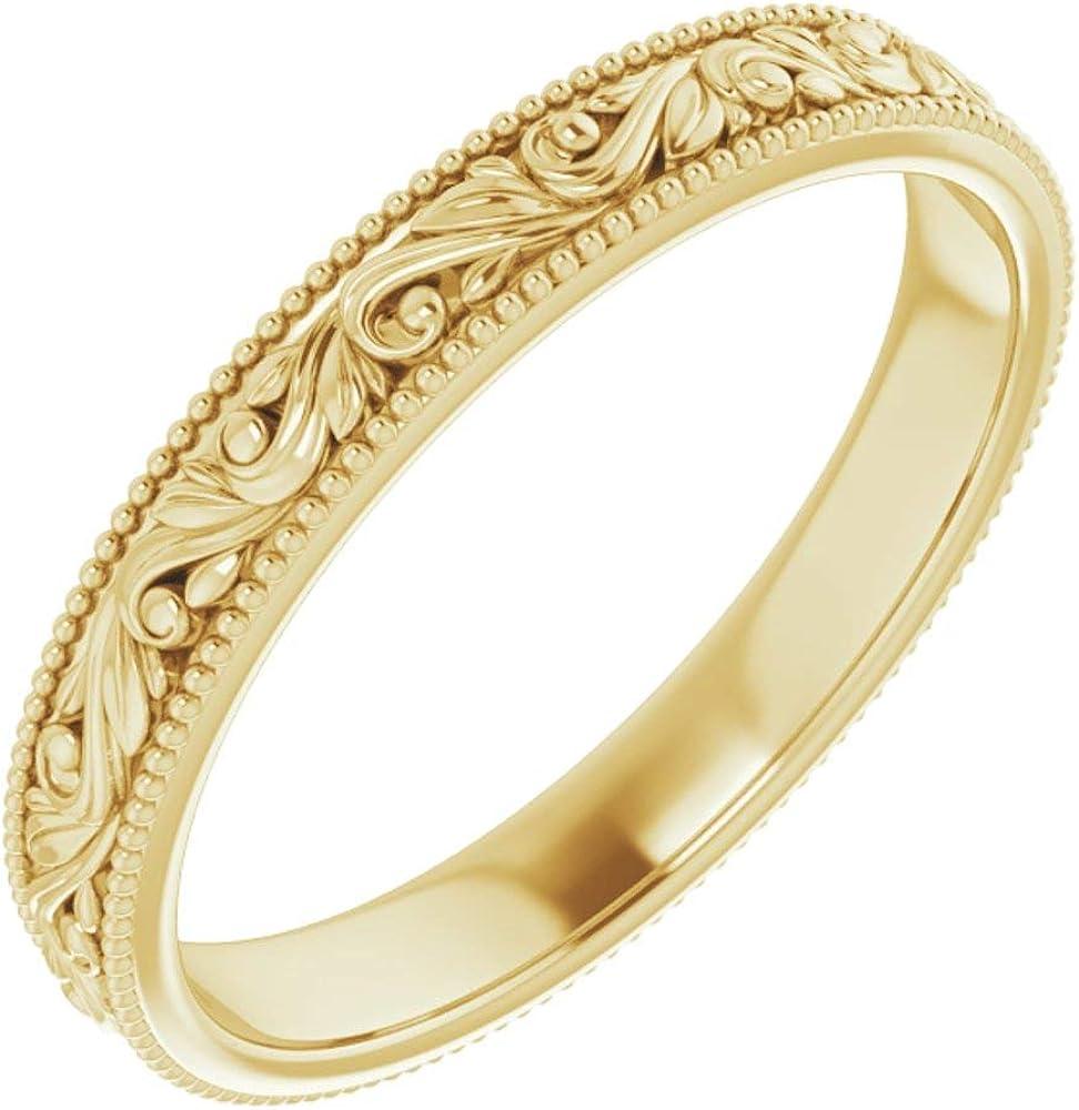 14k Yellow Gold 3.2mm Design Engraved Bridal Wedding Band Ring, Size 7.5