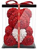 NADIR Blumenbär mit Herz/inklusive vorverpackter Geschenkbox Größen/Valentinstag Muttertag Geburtstag Jahrestag Jubiläen Infinity Rosebear Bär mit Rosen Flower Teddy Teddybär (Rot mit Herz, 40 cm)