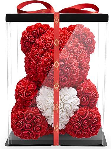 NADIR Blumenbär mit Herz/inklusive vorverpackter Geschenkbox Größen/Valentinstag Muttertag Geburtstag Jahrestag Jubiläen Infinity Rosebear Bär mit Rosen Flower Teddy Teddybär (Rot, 40 cm)