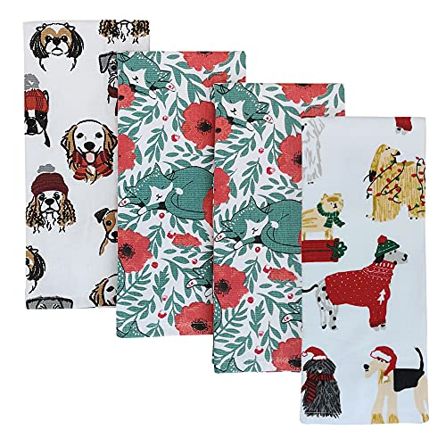 VNICGFOMGT Towels for Kitchen Set of 4, 100% Cotton Large Thicker Towels Holiday Christmas Tea Towels for Kitchen Bathroom Soft Quick-Dry 28x18 Inches,Cats & Dogs