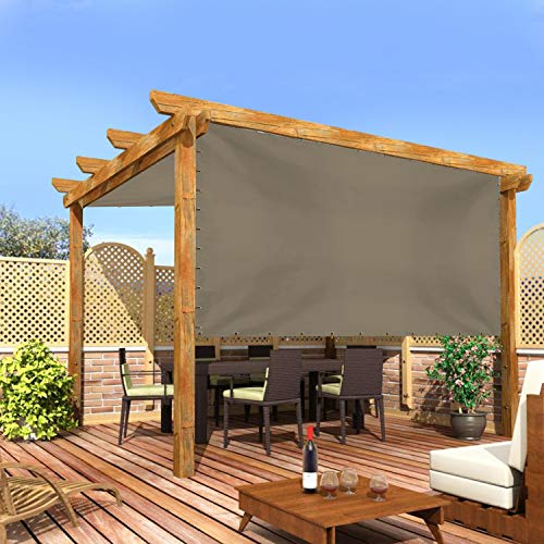 Cubierta universal de repuesto para toldo, pérgola de 12 onzas, 100% impermeable y resistente a la intemperie, para patio, porche, terraza, balcón, con ojales (8 pies de alto x 7 pies de ancho, beige)