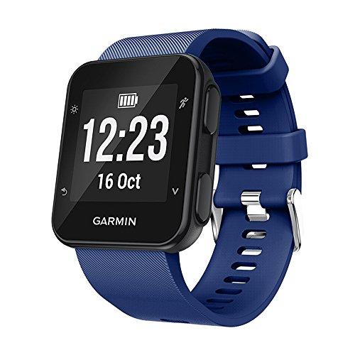 KOMI Correa de reloj compatible con Garmin Forerunner 35/30 Smart Watch, correa de repuesto de silicona, color azul oscuro