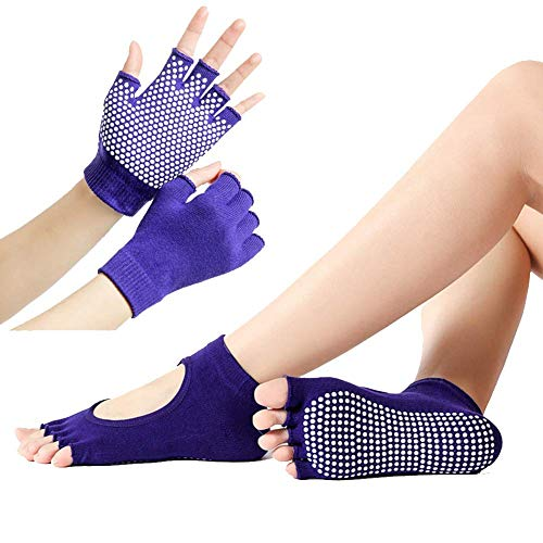 ECOSWAY Sports Fitness Yoga Socken und Handschuhe Set Five-Toe Anti-rutsch Atmungsaktiv Handschuhe Socken Set - Lila, Semi-Finger