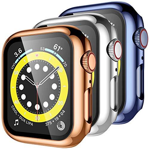 Upeak 3 Paquetes Carcasa Compatible con Apple Watch Series 6/5/4/SE 44mm Funda con Película de Vidrio Templado, Funda Protectora 360° Alrededor para iWatch Series 6/5/4/SE, Oro Rosa/Plata/Azul