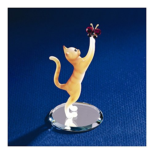 Glass Baron ~ Tabby Cat with Crystal Butterfly