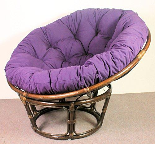 Rattan Papasan Sessel inkl. hochwertigen Polster, D 110 cm, Fb. Darkbrown, Polster violett