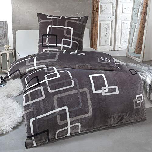 MALIKA® Kuschelige Winter Plüsch Bettwäsche Cashmere-Touch Coral Fleece mit Kissenbezug 80x80 wärmer als Biber oder Flanell, Größe:135x200 + 80x80, Design - Motiv:Design 3