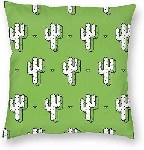 Fundas de Almohada Decorativas, Fundas de Almohada cuadradas de Lujo, Fundas de cojín para sofá, Coche, Pintura de Cactus, patrón Verde, 18 x 18 Pulgadas