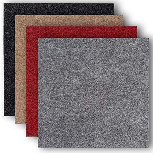 andiamo Teppichfliesen selbstklebend Teppichboden Bodenbelag Nadelfilz Fliese 40 x 40 cm - Set, Farbe:Anthrazit, Größe:4 m²