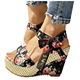 Aniywn Women's Lace Up Espadrilles Wedges Sandals Ankle Strap Floral Platform Sandals Soft Open Toe Summer Shoes
