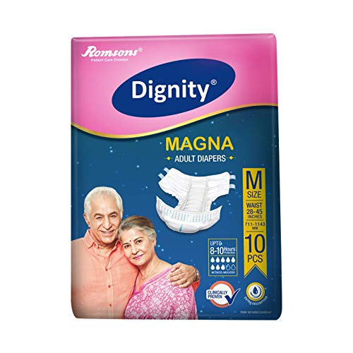 """Dignity Magna Adult Diapers, Medium, Waist Size 28"""" - 45"""", 10 Pcs/Pack (Pack of 1)"""