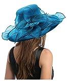 Carnavalife Sombrero de Sol Florales para Mujer, Gorro Nupcial para Vestido de Novia, Tocado de Iglesia Derby para Fiesta de Té, Talla única (Azul)
