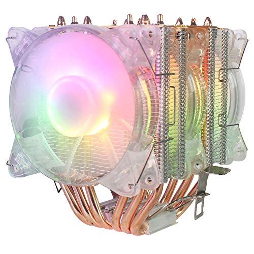 Domilay 6 Tubo de Cobre CPU Radiador Chasis Ventilador IluminacióN SíNcrona 1150 AMD1366 Ventilador de RefrigeracióN de CPU 2011 Luz Cristalina Tres Ventiladores