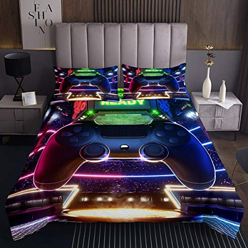 Gamepad Tagesdecke Spieler Bettüberwurf 240x260cm Jungen Videospiel wettbewerbsfähiges Steppdecke für Kinder Männer Teenager Neuheit Modern Spiel Controller Raumdekoration