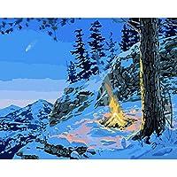 ナンバーズキットによるフレームレスペイント DIYオイルキャンバスナンバーペインティング 大人と子供向け、ブラシとアクリル顔料を使用した16x20インチ-冬の高山