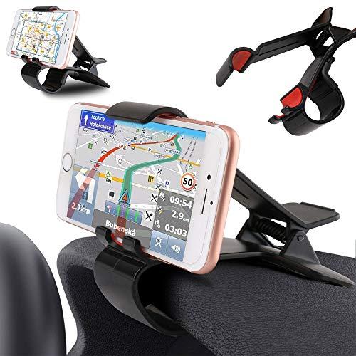 DFV mobile - Soporte de Pinza para Smartphone y GPS con Clip para Salpicadero de Coche para Energy Sistem Energy Tablet Neo 7 - Negra