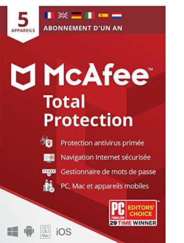 McAfee Total Protection 2021 | 5appareils | 1 an| Antivirus, sécurité Internet, gestionnaire de mots de passe, VPN*, Protection de l'identité | PC/Mac/Android/iOS |Édition européenne| courrier