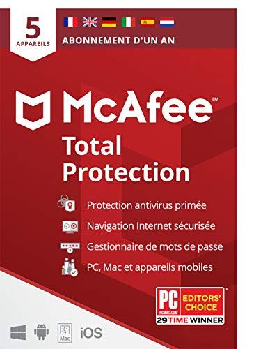 McAfee Total Protection 2020 | 5 Appareils | 1 An | Logiciel Antivirus, Sécurité Internet, Gestionnaire de Mots de Passe, Sécurité Mobile | PC/Mac/Android/iOS | Édition Européenne| Livraison Postale