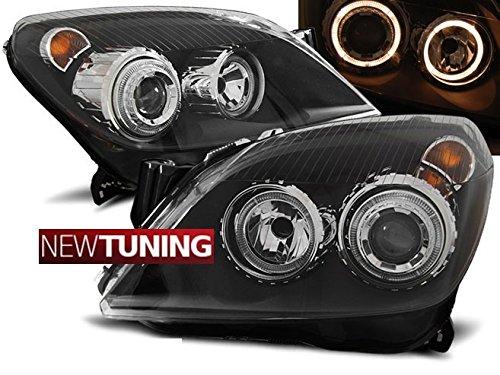 Faros delanteros para Opel Astra H 03.04–09Angel Eyes, color negro