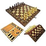 qingfeitai Juego de ajedrez 3 en 1, magnético, plegable, para niños y adultos, 44 x 44 cm
