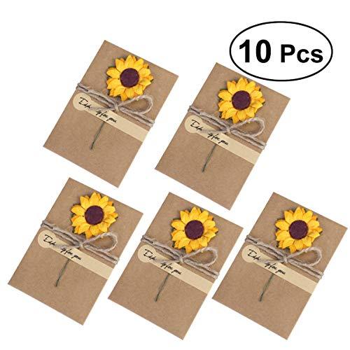 Toyvian 10 Stück Getrocknete Blumen Grußkarten Vintage Kraftpapier Einladungsumschläge Danke Postkarten für Mutter Lehrer Vater Freunde Familien Geschenk Sonnenblume