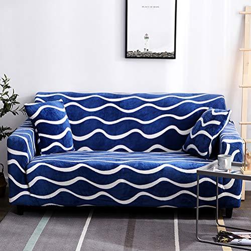 Funda elástica para sofá de poliéster suave con estampado de ondas azules de una sola pieza para cojines de muebles con escudo protector, fundas antideslizantes y resistentes al polvo.