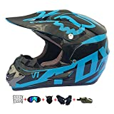 Casco Motocross Niño, ECE Certificación Casco de Moto para niños Downhill.Cascos de Cross de Moto Set con Gafas/Máscara/Red Elástica/Guantes (D, S / 52-53 cm)
