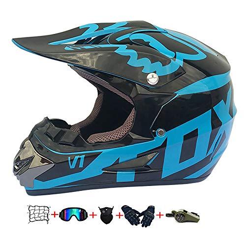 Casco Motocross Niño, ECE Certificación Casco de Moto para niños Downhill.Cascos de Cross de Moto Set con Gafas/Máscara/Red Elástica/Guantes (D, L / 56-57 cm)